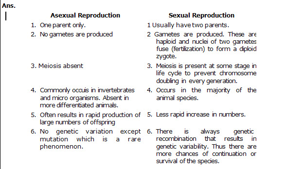 State difference between sexual and asexual reproduction